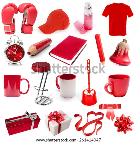 different isolated objects red color on a white background - stock photo