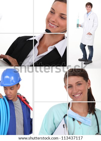 different jobs - stock photo