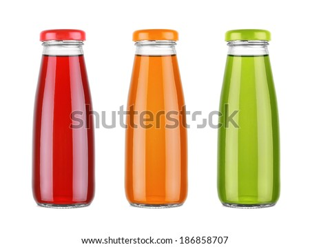 Different juice bottles collection isolated on white background - stock photo