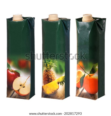 different juices cartons with screw cap - stock photo