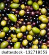 different kind of green and black olives - stock photo