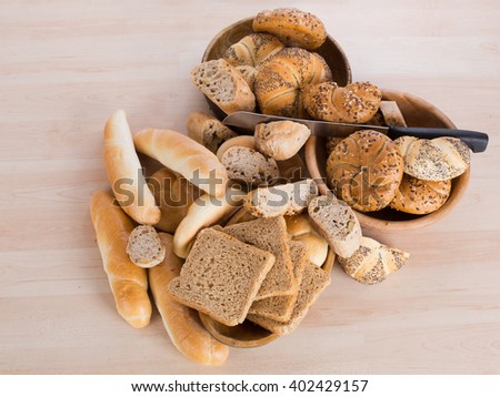 Different kinds of fresh bread - stock photo
