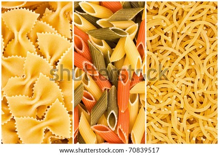different kinds of  pasta, collage - stock photo