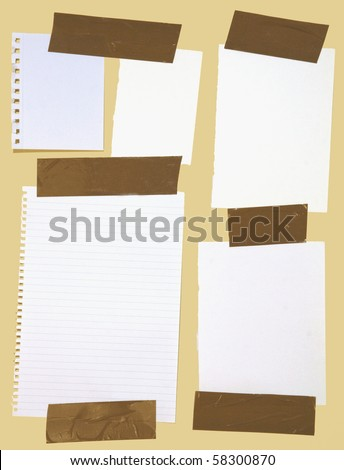 Different kinds of white pieces of paper stuck with brown wrapping tape isolated on yellow background. - stock photo