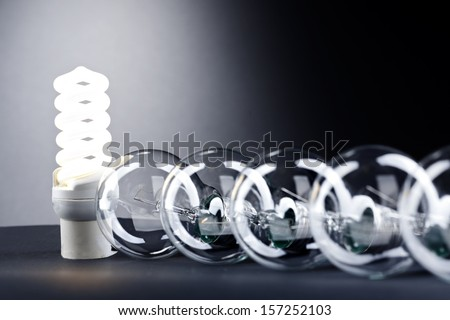 Different lamp. Concept for energy conservation - stock photo