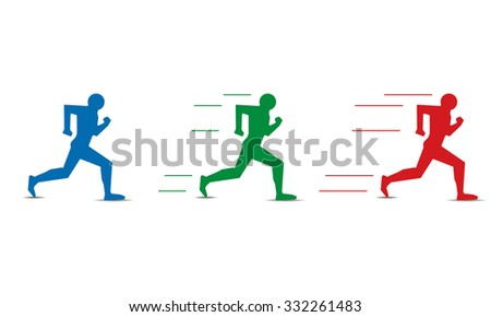 different levels of human running speed - stock photo