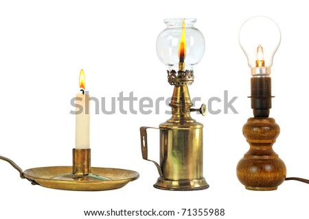 different lighting means new and old - stock photo