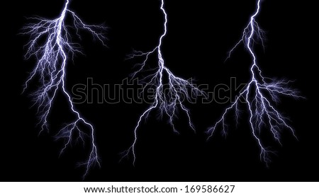 Different lightning bolts isolating on black - stock photo