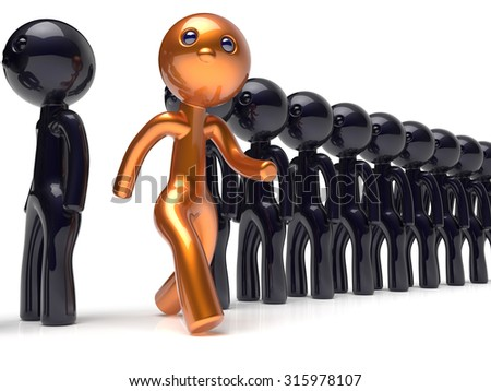 Different man character individuality unusual people unique guy stand out from the crowd brave think differ person otherwise run to new opportunities concept human resources icon 3d render isolated - stock photo