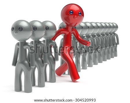 Different man character people individuality red stand out from the white crowd unique think differ person otherwise run to new opportunities concept referendum vote icon 3d render isolated - stock photo