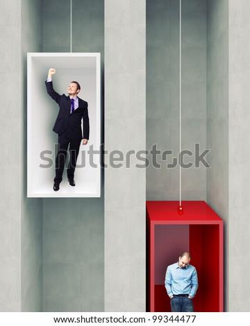different man on 3d elevator - stock photo