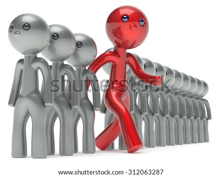 Different man unusual character unique people individuality red stand out from the crowd think differ person otherwise run to new opportunities concept referendum vote icon 3d render isolated - stock photo