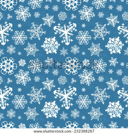 Different modern snowflakes on blue winter background seamless pattern - stock photo