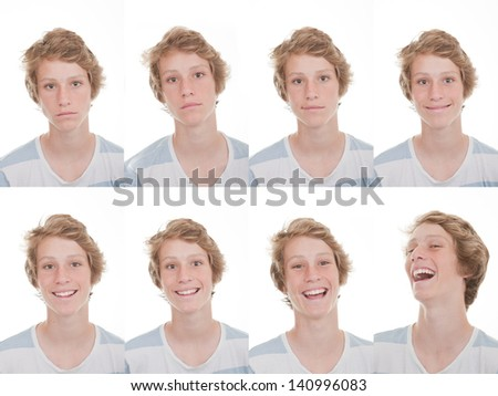 different moods and expressions happy, smiling, sad and laughing - stock photo