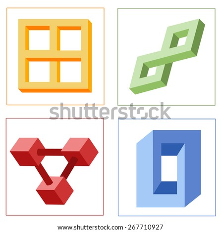 different multicolored optical illusions - stock photo