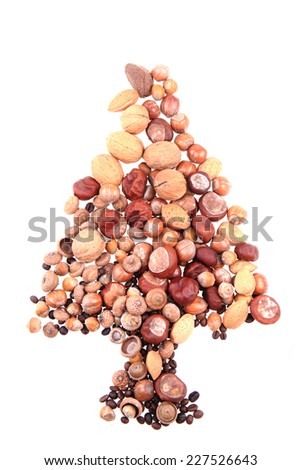 different nuts christmas tree  - stock photo