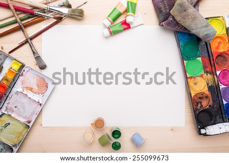 Different objects, related to painting and drawing - stock photo