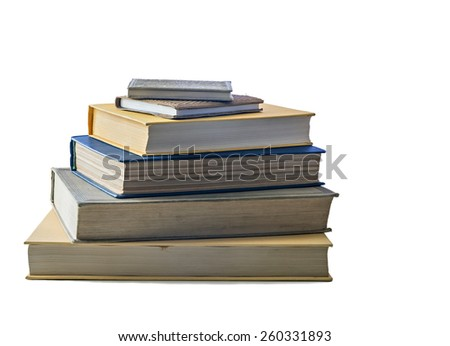 Different old books in stack - stock photo