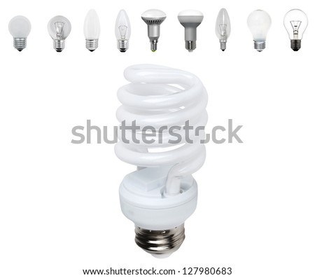 Different old types of bulbs and modern light-bulb isolated - stock photo