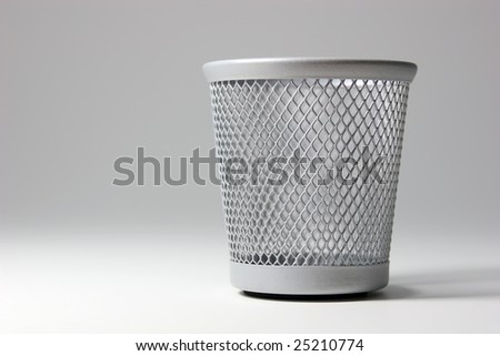 Different paper basket shots isolated on white background. - stock photo