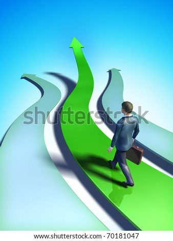 Different paths representing business choices. A businessman chooses a green, upward climbing path. Digital illustration. - stock photo