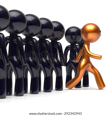 Different people be original individuality character stand out from the crowd unique man think differ person otherwise run to new opportunities concept human resources hr icon. 3d render isolated - stock photo