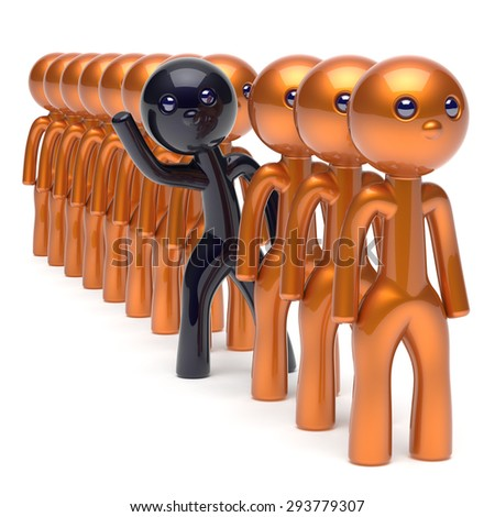 Different people black character stand out from the gold crowd unique individuality man think differ person otherwise hello to new opportunities concept human resources hr icon 3d render isolated - stock photo