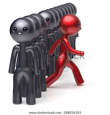 Different people individuality character stand out from the crowd unique man think differ person otherwise run to new opportunities concept human resources hr icon black red colors. 3d render isolated - stock photo