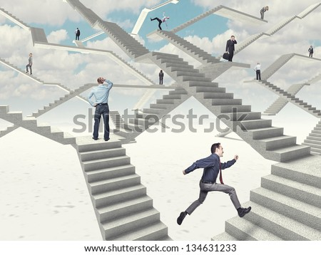different people on 3d abstract stairs - stock photo