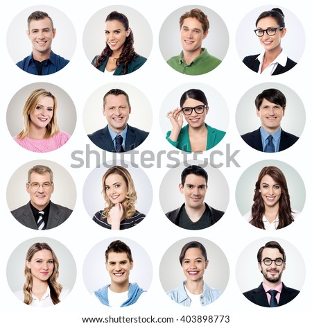 Different people portraits in circle blocks - stock photo