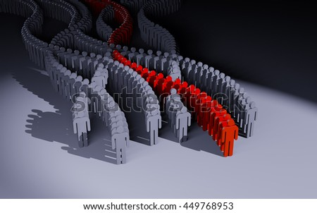 Different people. Red crowd. 3d illustration - stock photo
