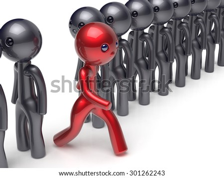 Different people stand out from the crowd individuality character red unique man think differ person otherwise run to new opportunities concept confidence human trust vote icon. 3d render isolated - stock photo