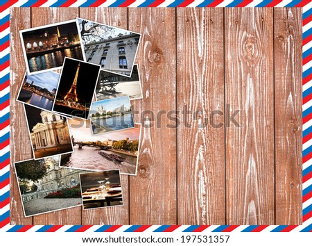 different photos of Paris, Travel Collage on a wooden background, postcard - stock photo