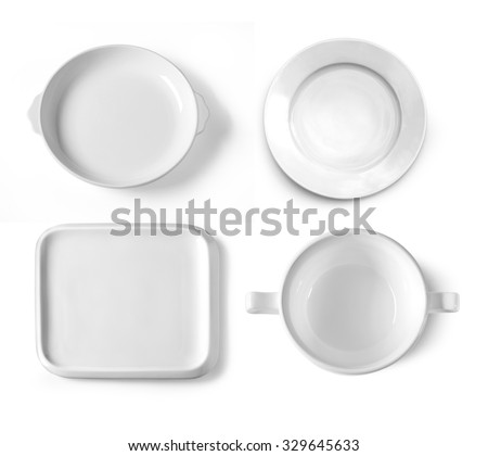 different plates isolated on white background - stock photo
