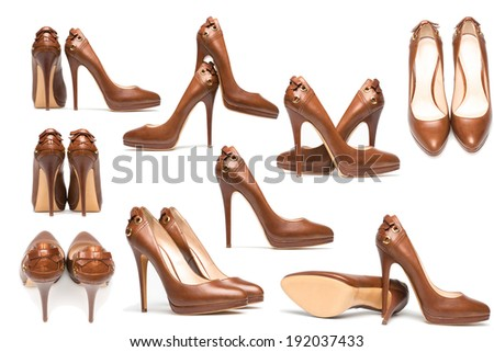 Different point of view-elegant high heel shoes on white background. Brown footwear - stock photo