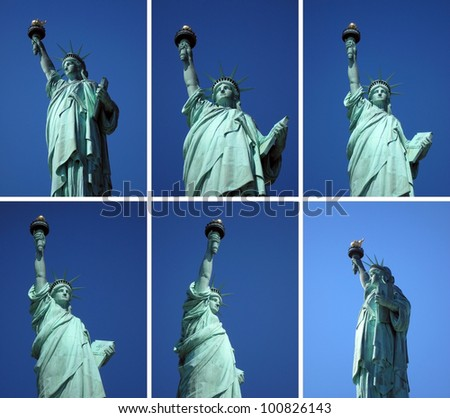 different points of view on the statue of liberty - stock photo