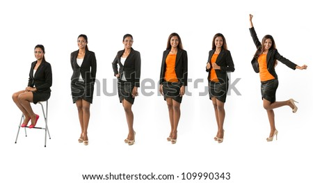 Different poses of the same female model wearing business clothing. Isolated over white background. - stock photo