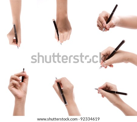 Different positions of hands with pens  on a white background - stock photo