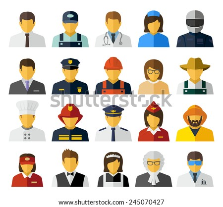 Different professions avatars icons - stock photo
