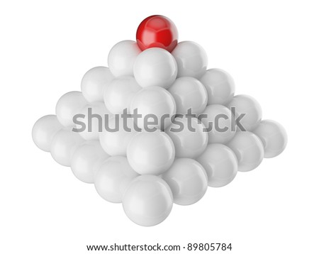 Different red ball on top of the white ones - stock photo