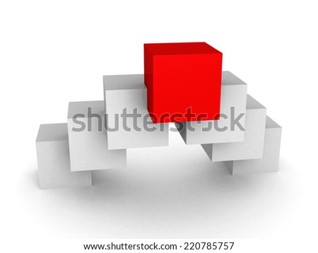 Different red cube leader on white background. 3d render illustration - stock photo
