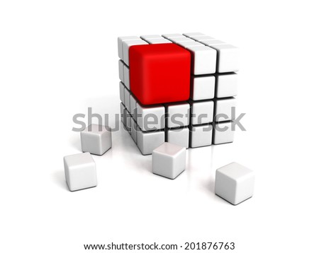 different red cube on white backround. leadership concept 3d render illustration - stock photo
