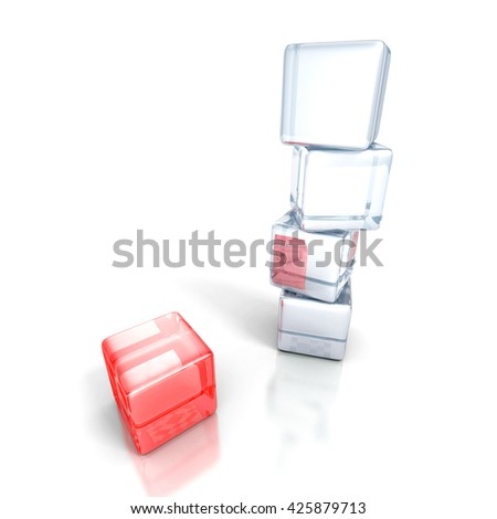 different red cube out from white tower stack. business concept 3d render illustration - stock photo