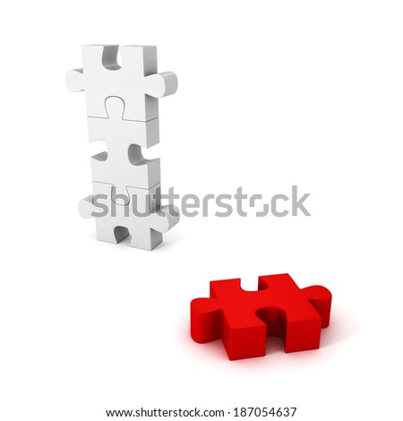 different red jigsaw puzzle piece out from white group. unique concept 3d render illustration - stock photo