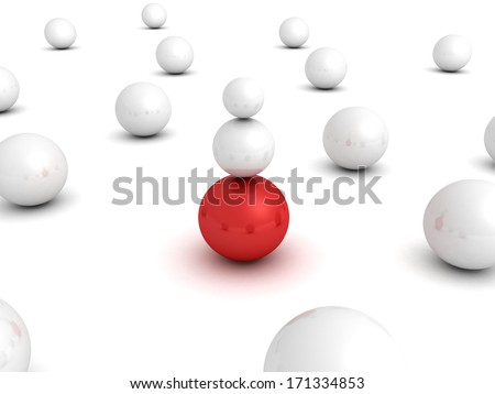 Different red leader ball sphere in other white crowd - stock photo