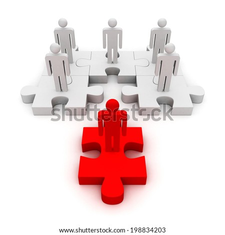 different red leader of business team on puzzle. business concept teamwork 3d render illustration - stock photo