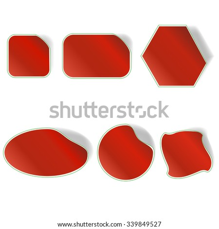 Different Red Stickers Set Isolated on White Background - stock photo