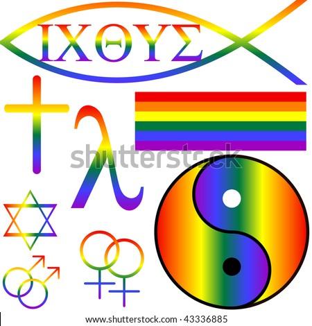 different secular, Jewish, Buddhist, zen and christian gay symbols - stock photo