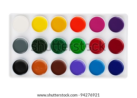 Different set of watercolors in the box on a white background - stock photo