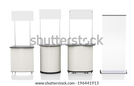 different several booths or kiosks with rollup from front isolated on white. 3d render - stock photo